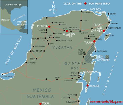 Map of Riviera Maya MexicoMap of Hotels in Playa del Carmen